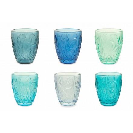 Modern Blauw Gekleurde Glazen 12 Stuks Water Service - Mazara