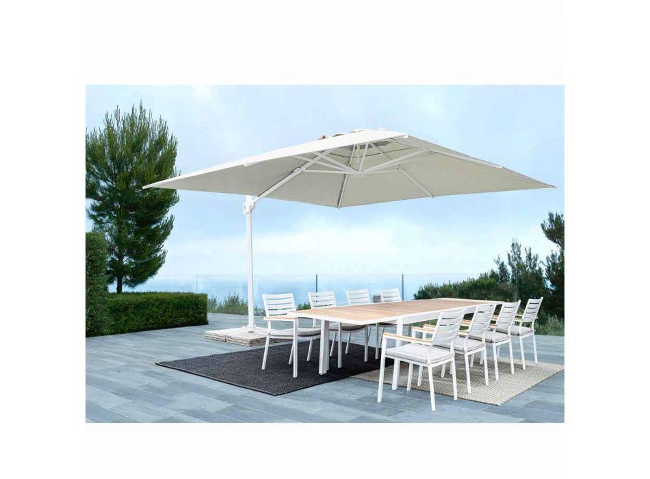 3x3 Outdoor Paraplu in Wit Aluminium en Polyester - Fasma