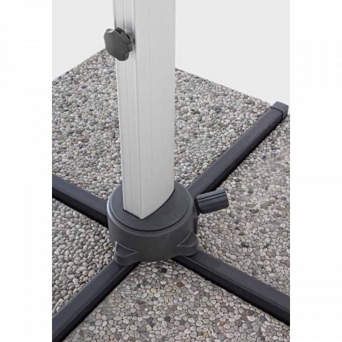 4x4 tuinparaplu met donkergrijze stof en geanodiseerde structuur - Daniel