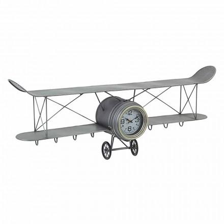 Vliegtuigvormige wandklok van staal en glas Homemotion - Plano