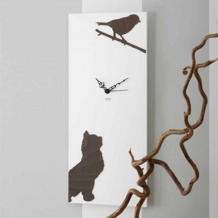 Witte Wandklok met Houten Dierendecoraties Modern Design - Suspense