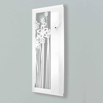 Moderne rechthoekige design wandklok in wit plexiglas - Elara