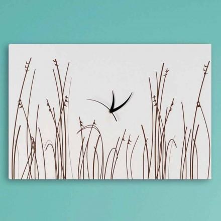Rechthoekige Modern Design Witte Houten Wandklok - Filigraan