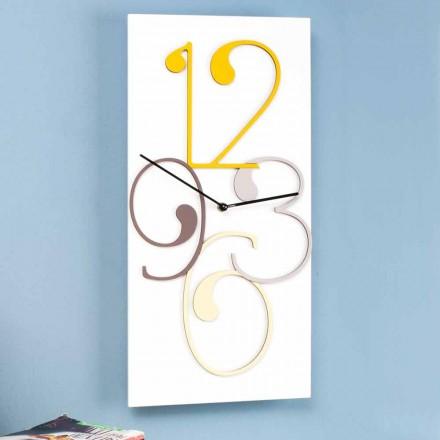 Wandklok gekleurd en wit hout rechthoekig modern ontwerp - wiskunde