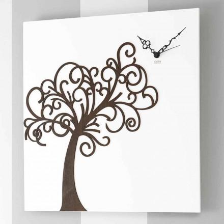 Witte vierkante houten design wandklok met boom - Alberoeden