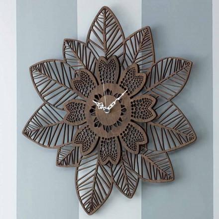 Wandklok in licht of donker hout met een modern bloemmotief - Aquilegia