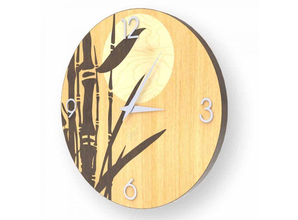 Atina-wandklok in gedecoreerd hout, ontwerp gemaakt in Italië