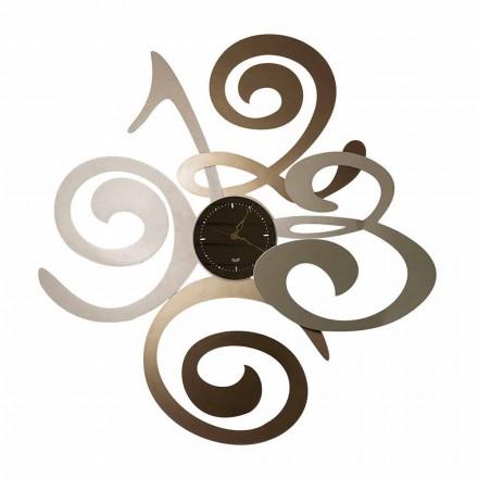 Wandklok met modern design in ijzer gemaakt Italië - korenbloem