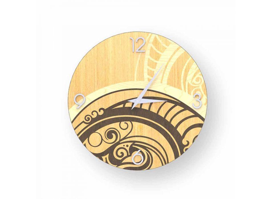 Adro abstracte wandklok gemaakt van hout, gemaakt in Italië