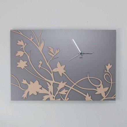 Moderne grijze rechthoekige design wandklok in versierd hout - gallium