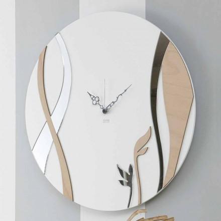 Moderne en ronde wandklok met gedecoreerd houtdesign - Harmony