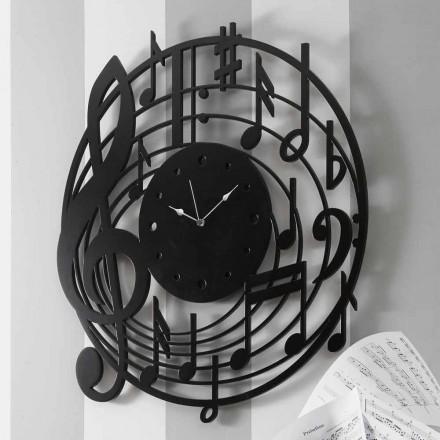 Modern Design Ronde Zwarte Wandklok in Versierd Hout - Muziek