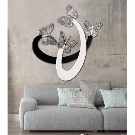 Designer wandklok ivoor / zwart handgemaakt in Italië Zenia