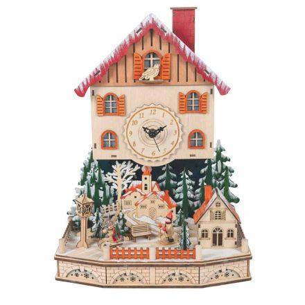 Houten Kerstklok Dorp met Sneeuw en Led en Muziek - Villaggio
