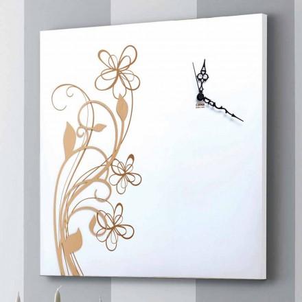Grote vierkante wandklok in wit hout met bloem - Florello