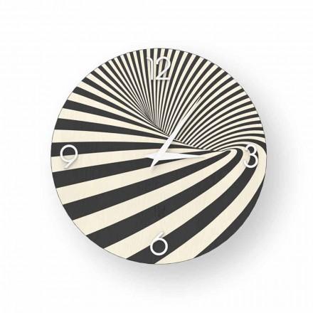 Houten klok gedecoreerd met Azzio-design, gemaakt in Italië