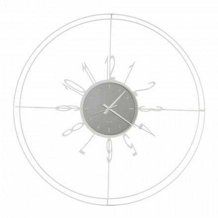 Ronde wandklok in wit, zwart of brons ijzer Made in Italy - kompas