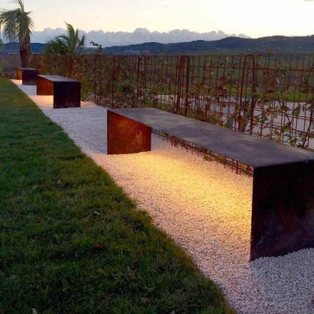 Handgemaakte buitenbank van staal met LED-licht Made in Italy - Magdalena