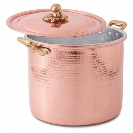 Hoge Pot in Hand Vertind Koper met Handvatten en Deksel 20 cm - Mariarita
