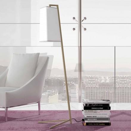 Metalen vloerlamp met moderne witte katoenen lampenkap Made in Italy - Barton