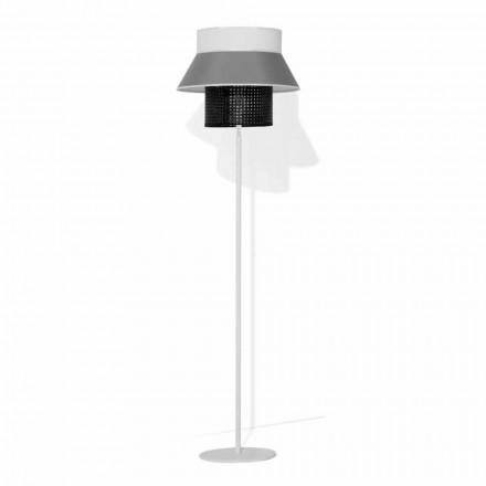 Moderne vloerlamp van metaal en lampenkap van katoen en rotan Made in Italy - Sailor