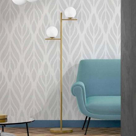Moderne vloerlamp in metaal, messing afwerking en opaalglas gemaakt in Italië - Carima