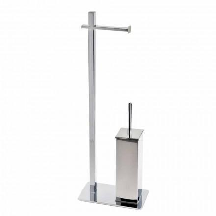 Modern design ijzeren standaard voor toiletborstel en rol Made in Italy - Cali