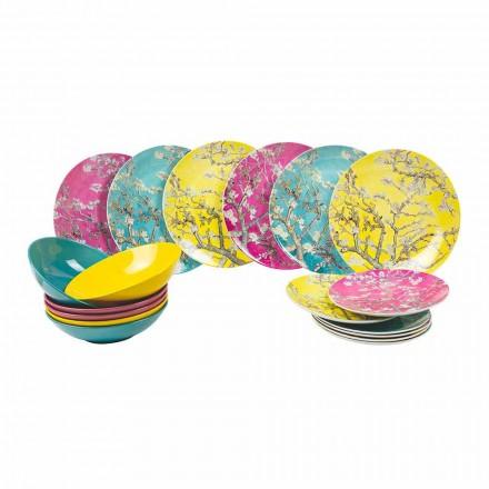 Platen van gekleurd porselein en aardewerk Modern servies 18-delig - Nagoya