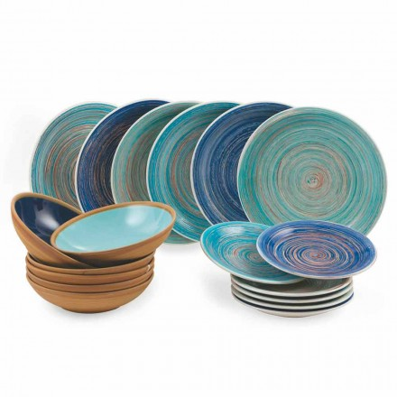 Gekleurde en moderne borden 18 stuks in steengoed Compleet servies - Egadi