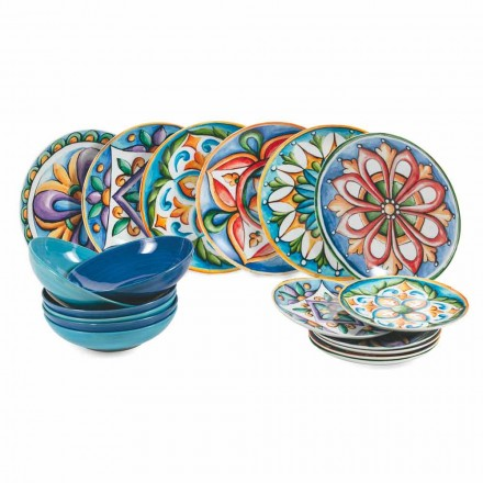 Gekleurde en moderne etnische borden in porselein en steengoed 18-delige servies - Maia