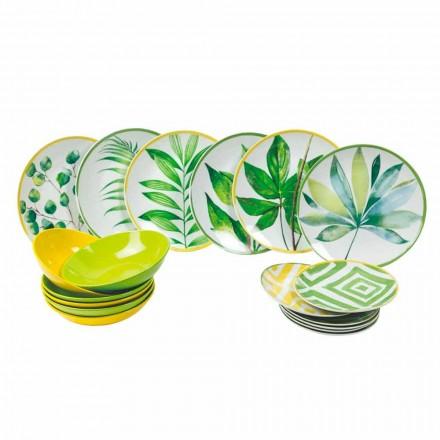 Gekleurde borden in porselein en gres Modern servies compleet 18 stuks - Albore