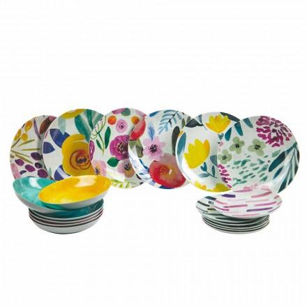 Gekleurde design tafelborden in steengoed en porselein 18 stuks - Tintarello