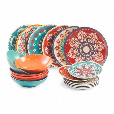 Etnische gerechten 18 stuks gekleurd porselein en steengoed servies - Perzië