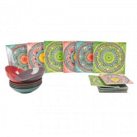 Vierkant gekleurde etnische borden in porselein en aardewerk 18 stuks - Canarische