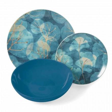 Moderne blauwe of roze aardewerk en porseleinen borden 18 tafel items - herfst
