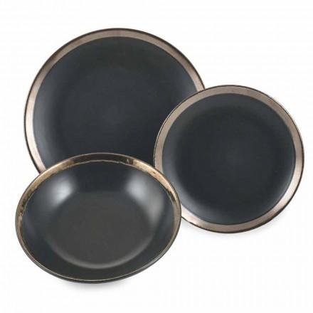 Zwart en goud aardewerk borden Servies Modern 18 stuks - Oronero