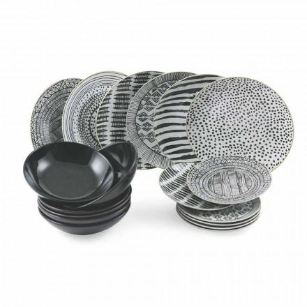 Borden van porselein en zwart steengoed, compleet servies aan tafel 18-delig - Tribu