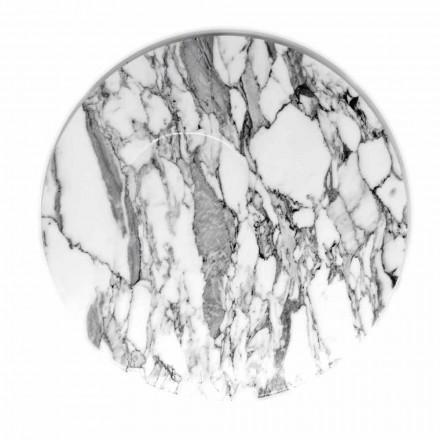 Ronde serveerschaal van wit Carrara-marmer Made in Italy - Kamil