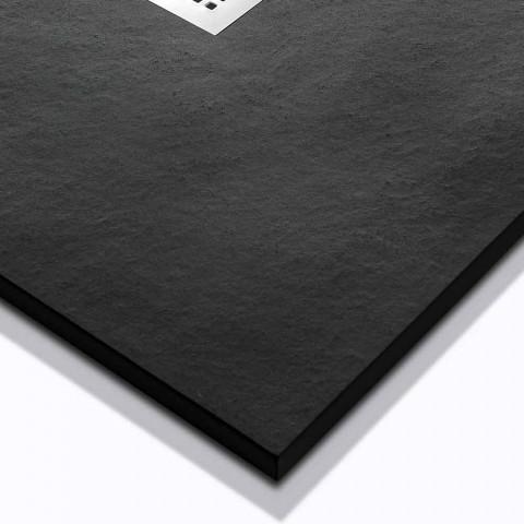 120x90 Douchebak van hars met steeneffect en stalen rooster - Domio