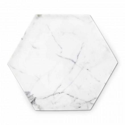 Zeshoekige designplaat in wit Carrara-marmer gemaakt in Italië - Sintia