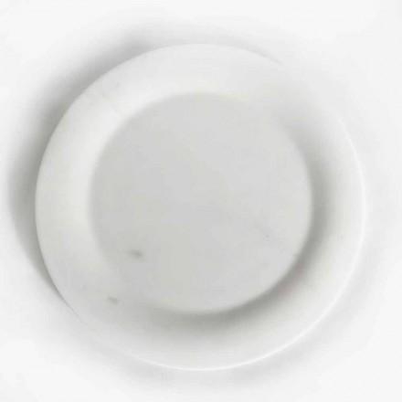 Platte plaat in glanzend wit beeldhouwwerk marmer van Made in Italy Design - Brandy