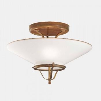 3 Lichts Plafondlamp in Messing en Kegel Murano Glas - Land van Il Fanale