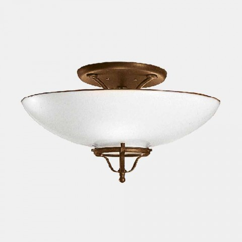 3 Lichts Plafondlamp in Messing en Murano Glas Semisfera - Land van Il Fanale