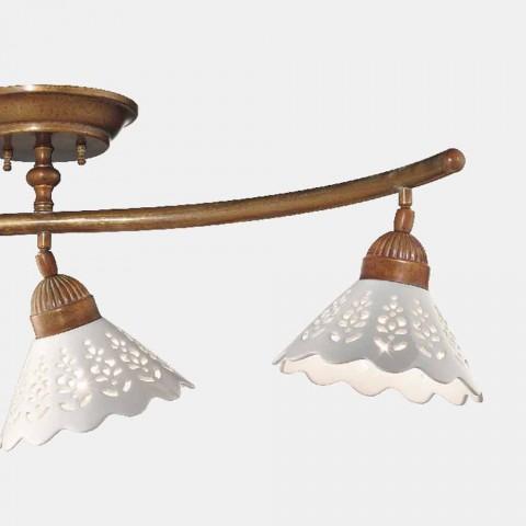 3-lichts plafondlamp in messing en geperforeerd keramiek - Fiordipizzo van Il Fanale