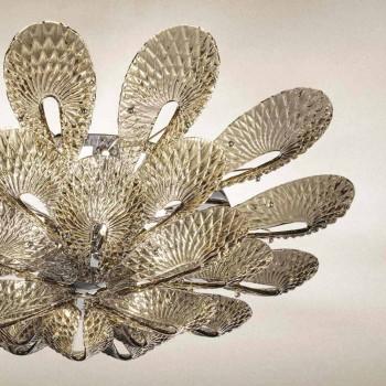 Ambachtelijke plafondlamp in gerookt Venetiaans glas, gemaakt in Italië - Minos