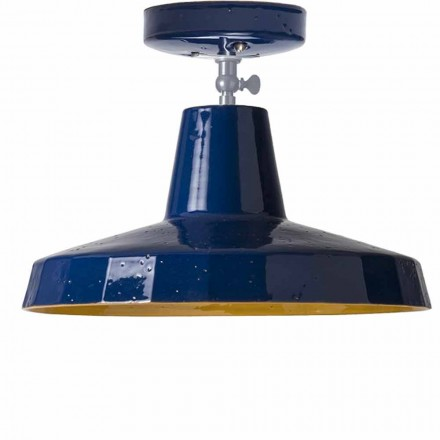 Plafondlamp in messing en Toscaanse maiolica, 42cm, Rossi - Toscot