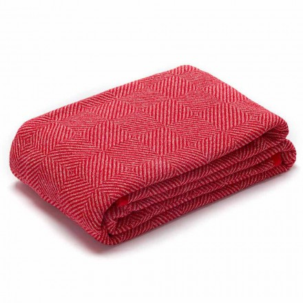 Plaid voor bed of bank in rood en wit verfrommeld linnen Made in Italy - Grano