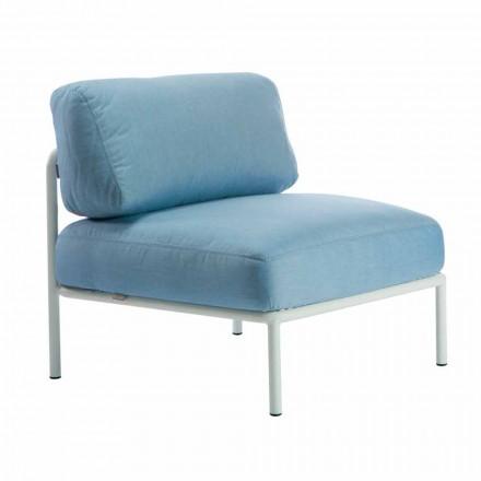 Centrale modulaire fauteuil voor buiten in metaal en stof Made in Italy - Cola