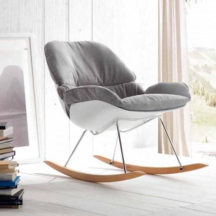 Rocking fauteuil met moderne verwijderbare zachte grijze kussen Acacia