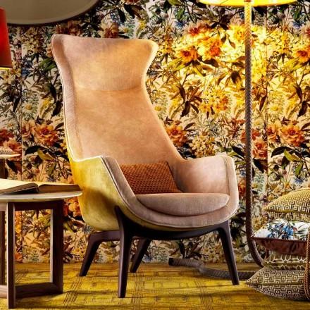 Bergére fauteuil in Grilli Wilde-designstof gemaakt in Italië
